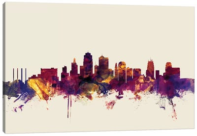 Skyline Series: Kansas City, Missouri, USA On Beige Canvas Print #MTO296