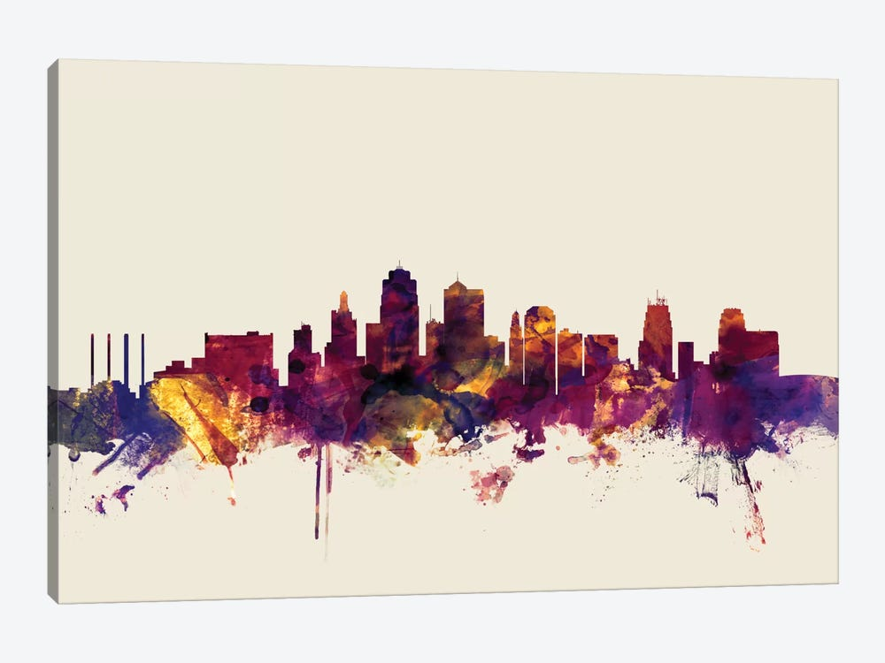 Skyline Series: Kansas City, Missouri, USA On Beige by Michael Tompsett 1-piece Canvas Print