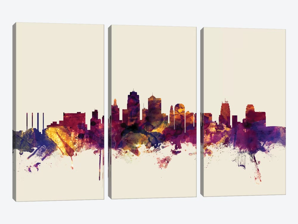 Skyline Series: Kansas City, Missouri, USA On Beige by Michael Tompsett 3-piece Canvas Art Print