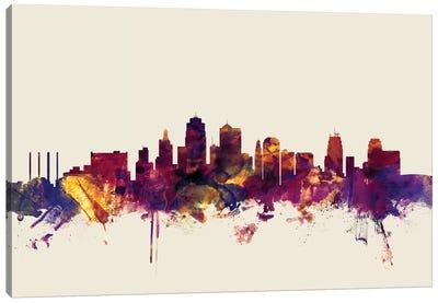 Kansas City, Missouri, USA On Beige Canvas Art Print