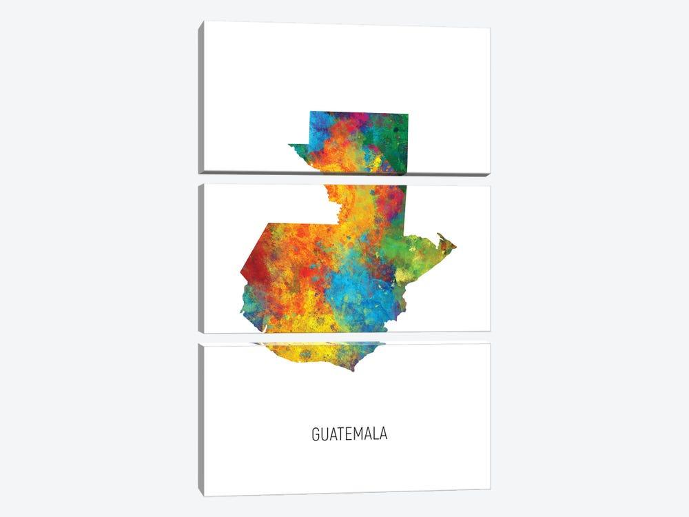 Guatemala Map by Michael Tompsett 3-piece Canvas Print