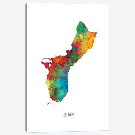 Guam Map Canvas Print #MTO2974} by Michael Tompsett Art Print