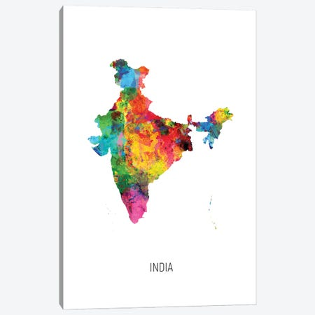 India Map Canvas Print #MTO2976} by Michael Tompsett Canvas Print