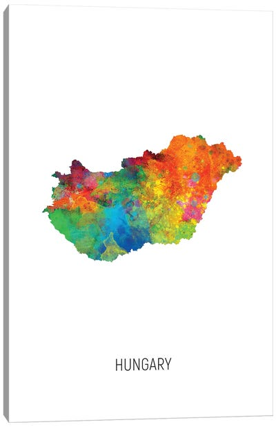 Hungary Map Canvas Art Print