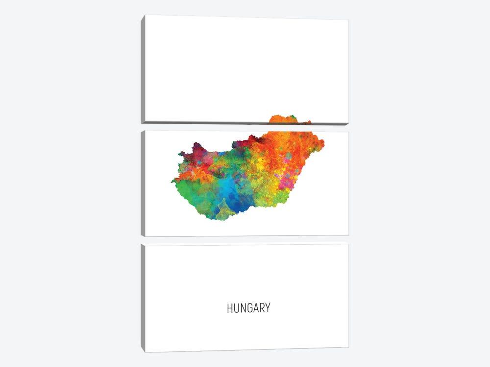 Hungary Map by Michael Tompsett 3-piece Art Print