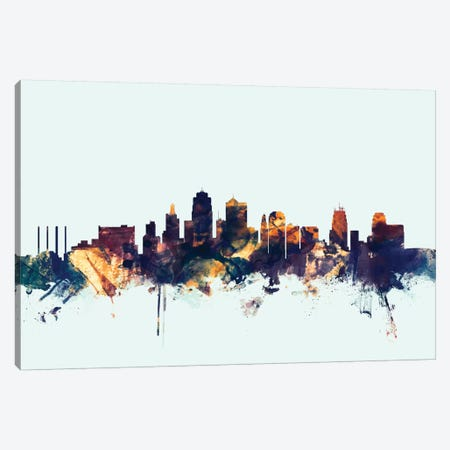 Kansas City, Missouri, USA On Blue Canvas Print #MTO297} by Michael Tompsett Art Print