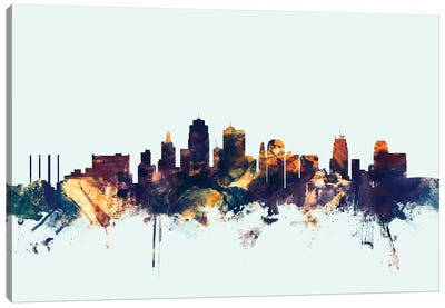 Kansas City, Missouri, USA On Blue Canvas Art Print