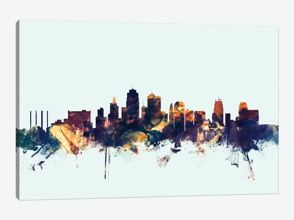 Skyline Series: Kansas City, Missouri, USA On Blue by Michael Tompsett 1-piece Canvas Wall Art