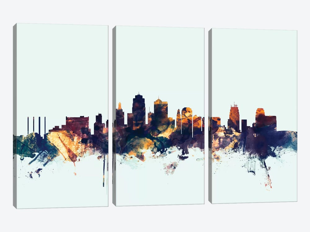 Skyline Series: Kansas City, Missouri, USA On Blue by Michael Tompsett 3-piece Canvas Wall Art