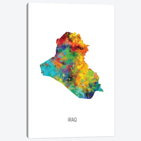 Iraq Map Canvas Print #MTO2983} by Michael Tompsett Art Print