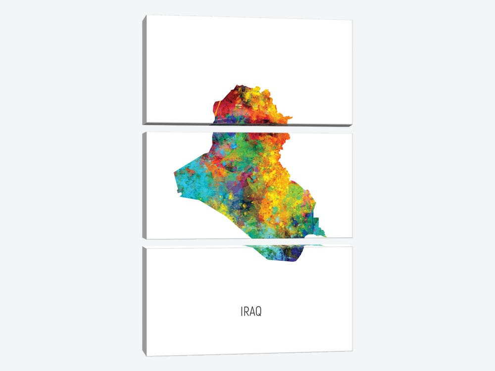 Iraq Map by Michael Tompsett 3-piece Canvas Artwork