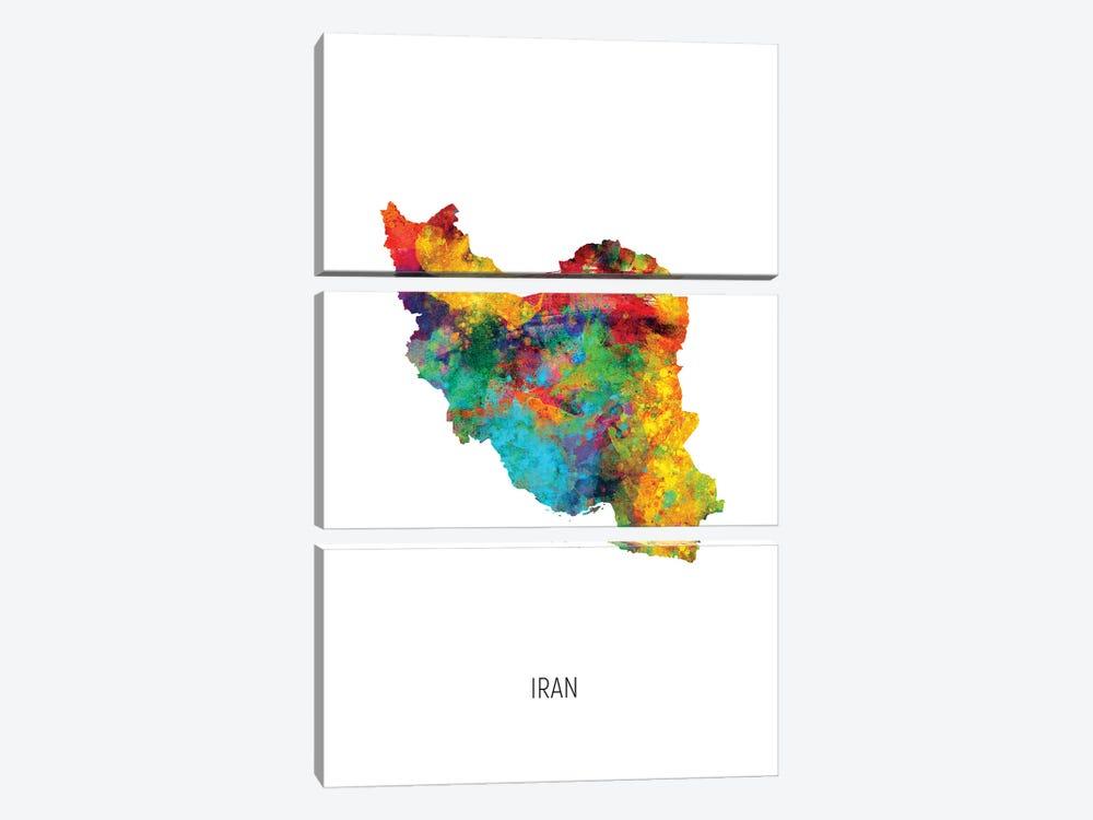 Iran Map by Michael Tompsett 3-piece Canvas Print