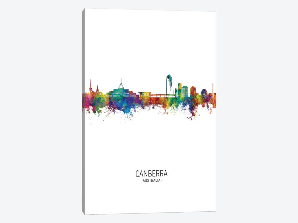 Canberra Australia Skyline Portrait by Michael Tompsett 1-piece Canvas Art