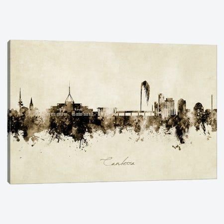 Canberra Australia Skyline Vintage Canvas Print #MTO2986} by Michael Tompsett Canvas Wall Art