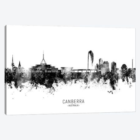 Canberra Australia Skyline Name Bw Canvas Print #MTO2987} by Michael Tompsett Canvas Wall Art