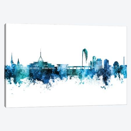 Canberra Australia Skyline Blue Teal Canvas Print #MTO2989} by Michael Tompsett Canvas Print