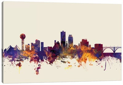 Skyline Series: Knoxville, Tennessee, USA On Beige Canvas Art Print