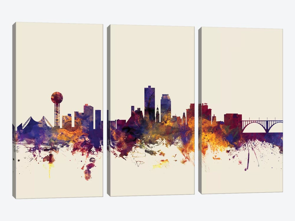Skyline Series: Knoxville, Tennessee, USA On Beige by Michael Tompsett 3-piece Art Print
