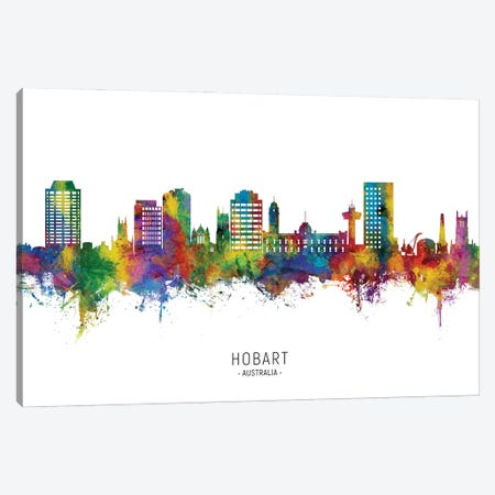 Hobart Australia Skyline City Name Canvas Print #MTO2993} by Michael Tompsett Canvas Wall Art