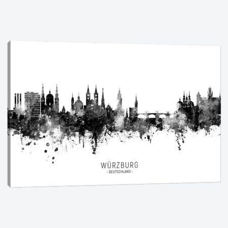 Wurzburg Deutschland Skyline Name Bw Canvas Print #MTO2997} by Michael Tompsett Art Print