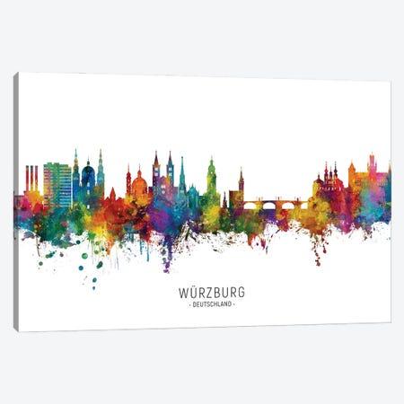Wurzburg Deutschland Skyline City Name Canvas Print #MTO2998} by Michael Tompsett Canvas Wall Art