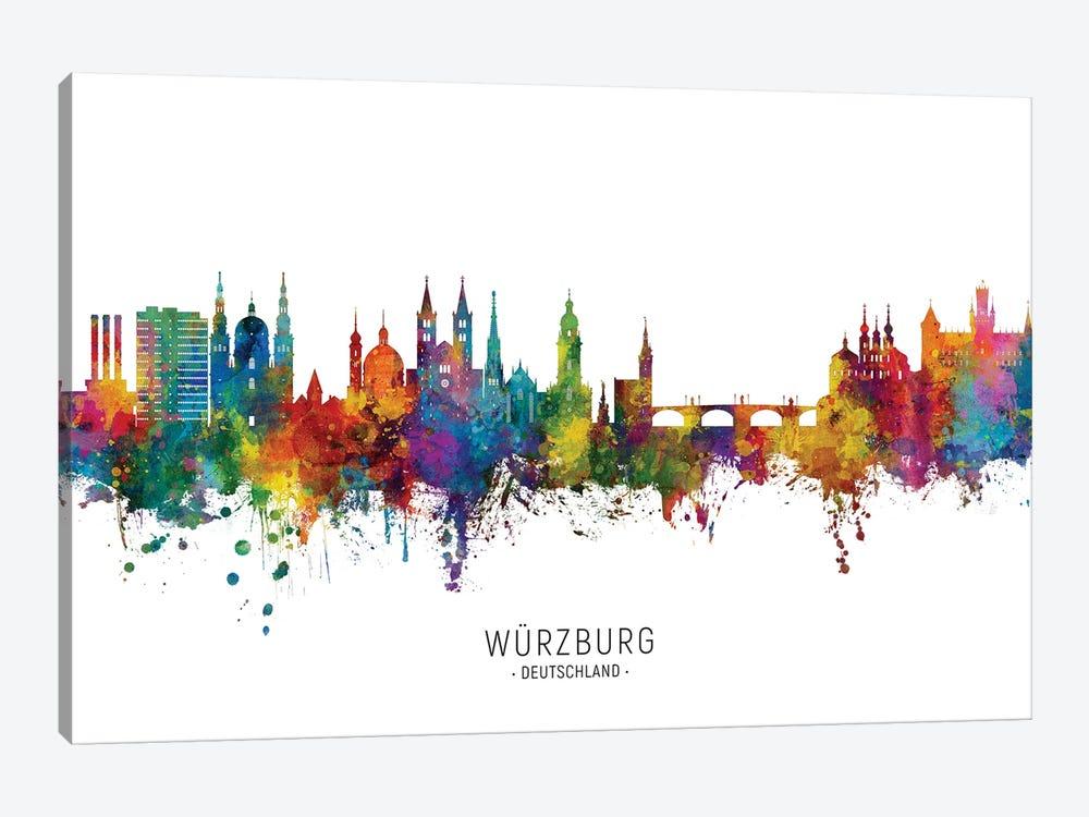 Wurzburg Deutschland Skyline City Name by Michael Tompsett 1-piece Canvas Wall Art