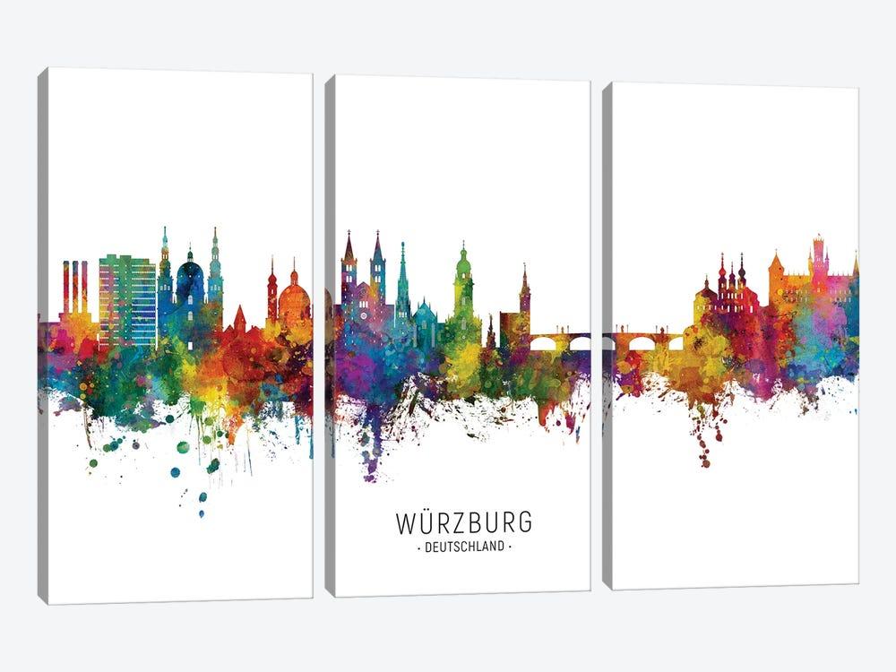 Wurzburg Deutschland Skyline City Name by Michael Tompsett 3-piece Canvas Art