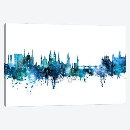 Wurzburg Deutschland Skyline Blue Teal Canvas Print #MTO2999} by Michael Tompsett Canvas Wall Art
