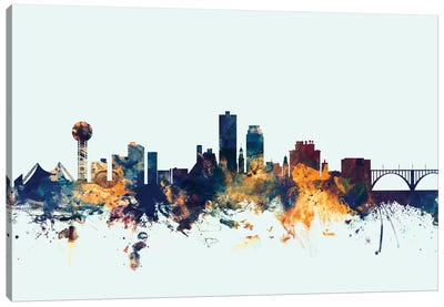 Skyline Series: Knoxville, Tennessee, USA On Blue Canvas Art Print
