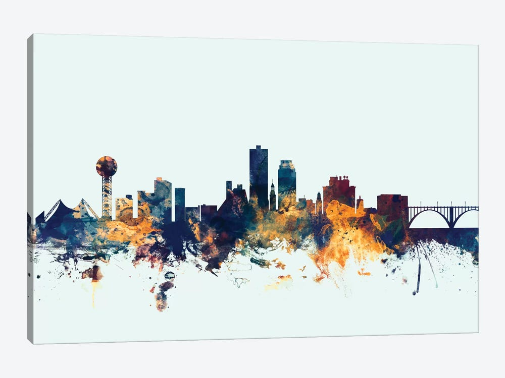 Skyline Series: Knoxville, Tennessee, USA On Blue by Michael Tompsett 1-piece Canvas Artwork