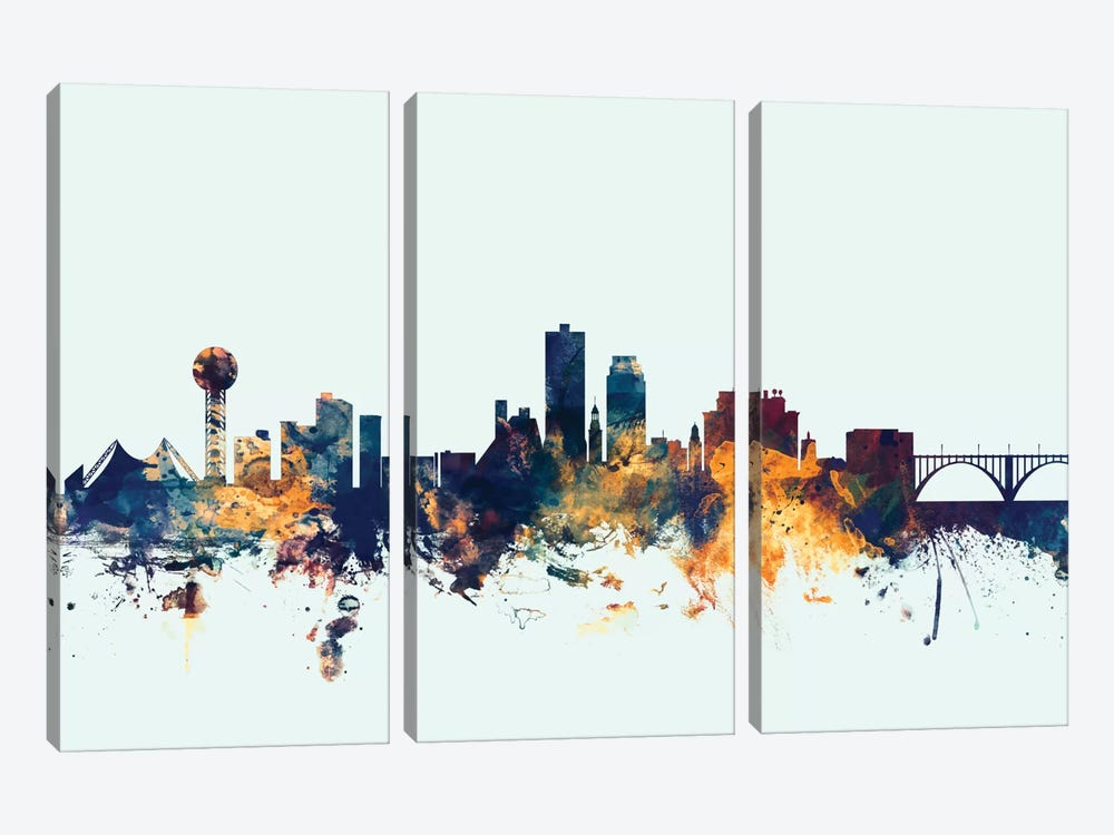 Skyline Series: Knoxville, Tennessee, USA On Blue by Michael Tompsett 3-piece Canvas Wall Art