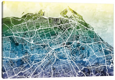 Color Gradient Urban Street Map Series: Edinburgh, Scotland, United Kingdom Canvas Art Print