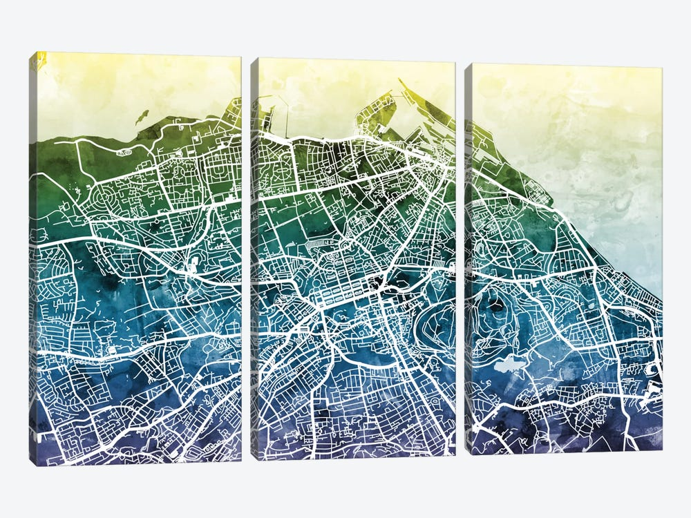 Color Gradient Urban Street Map Series: Edinburgh, Scotland, United Kingdom by Michael Tompsett 3-piece Canvas Wall Art