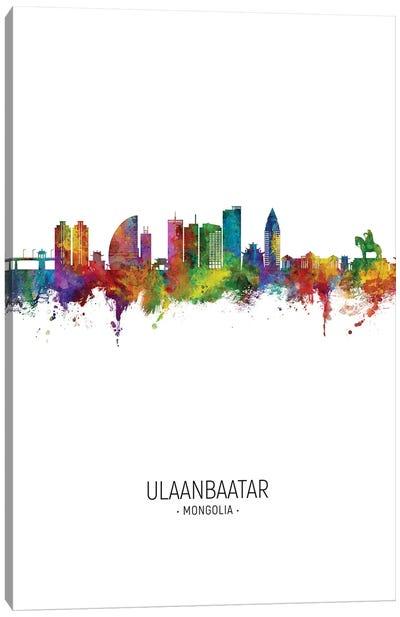Ulaanbaatar Mongolia Skyline Portrait Canvas Art Print