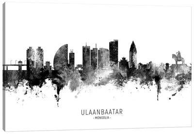 Ulaanbaatar Mongolia Skyline Name Bw Canvas Art Print
