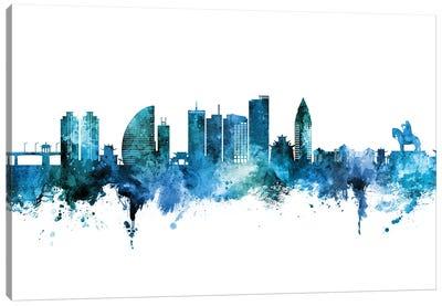 Ulaanbaatar Mongolia Skyline Blue Teal Canvas Art Print