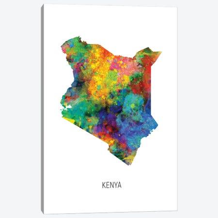 Kenya Map Canvas Print #MTO3007} by Michael Tompsett Canvas Wall Art