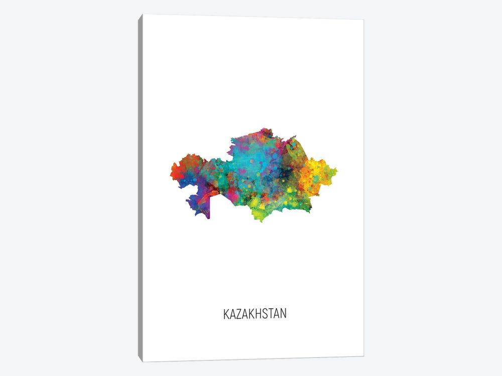 Kazakhstan Map by Michael Tompsett 1-piece Art Print