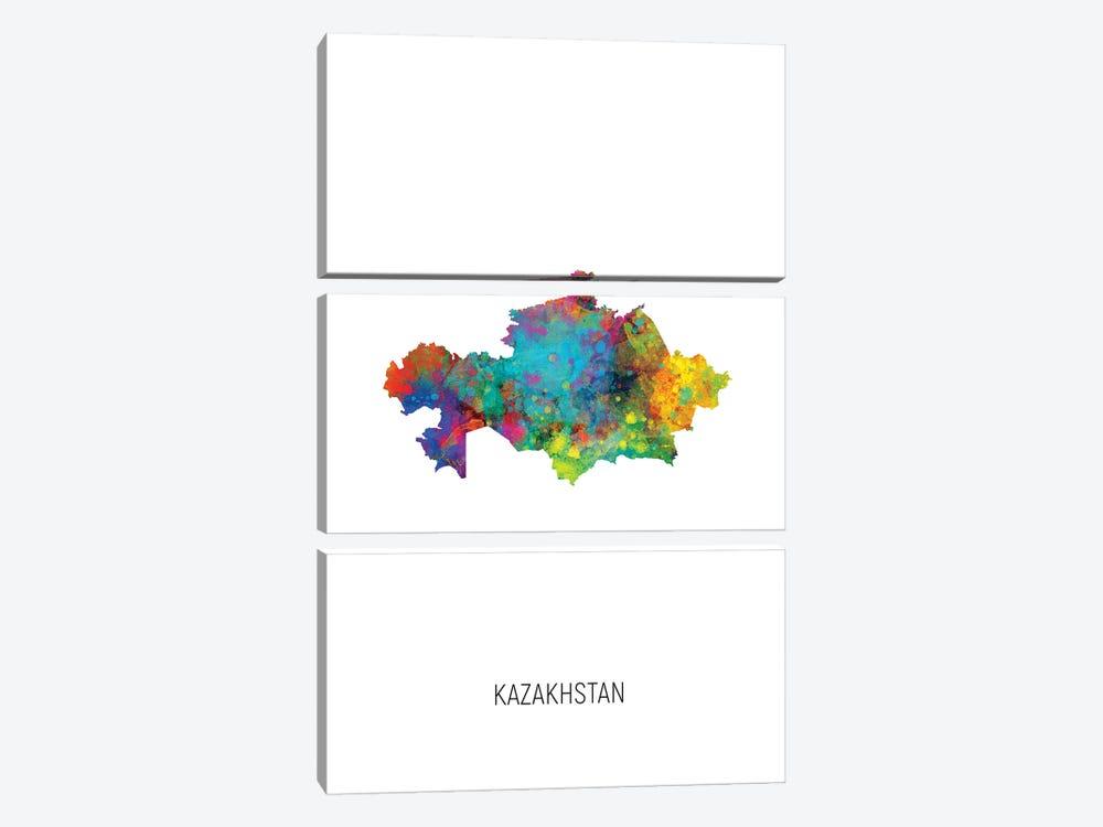 Kazakhstan Map by Michael Tompsett 3-piece Canvas Art Print