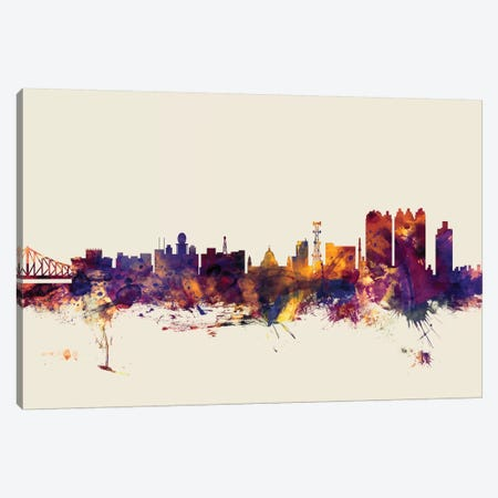Kolkata (Calcutta), India On Beige Canvas Print #MTO300} by Michael Tompsett Canvas Wall Art