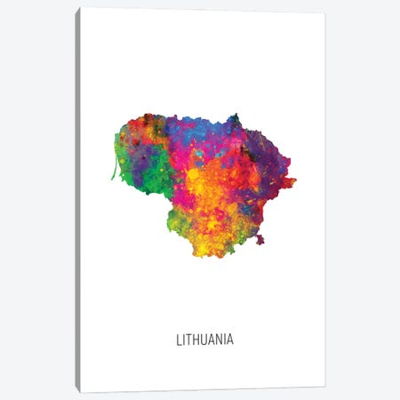 Lithuania Map Canvas Print #MTO3010} by Michael Tompsett Canvas Wall Art
