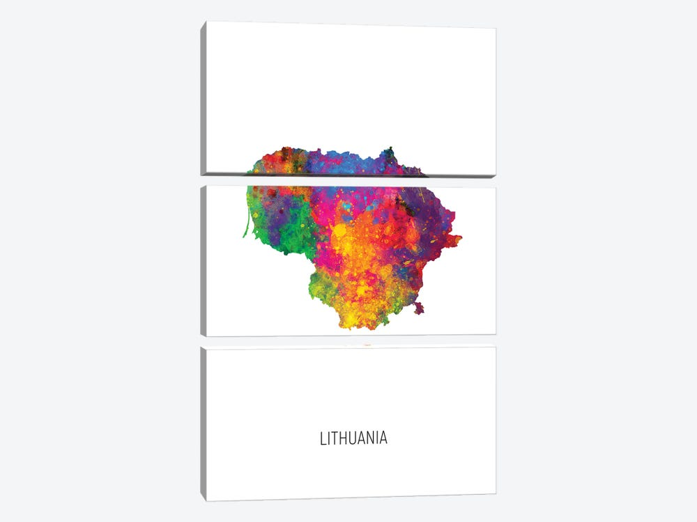Lithuania Map by Michael Tompsett 3-piece Canvas Artwork