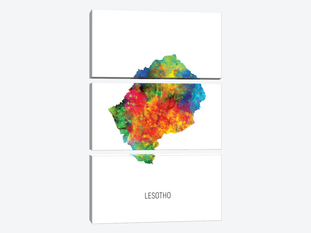 Lesotho Map by Michael Tompsett 3-piece Canvas Art