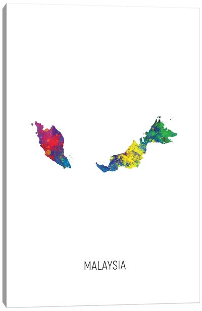 Malaysia Map Canvas Art Print