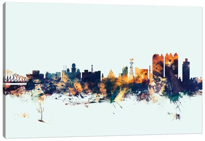 Skyline Series: Kolkata (Calcutta), India On Blue Canvas Print #MTO301