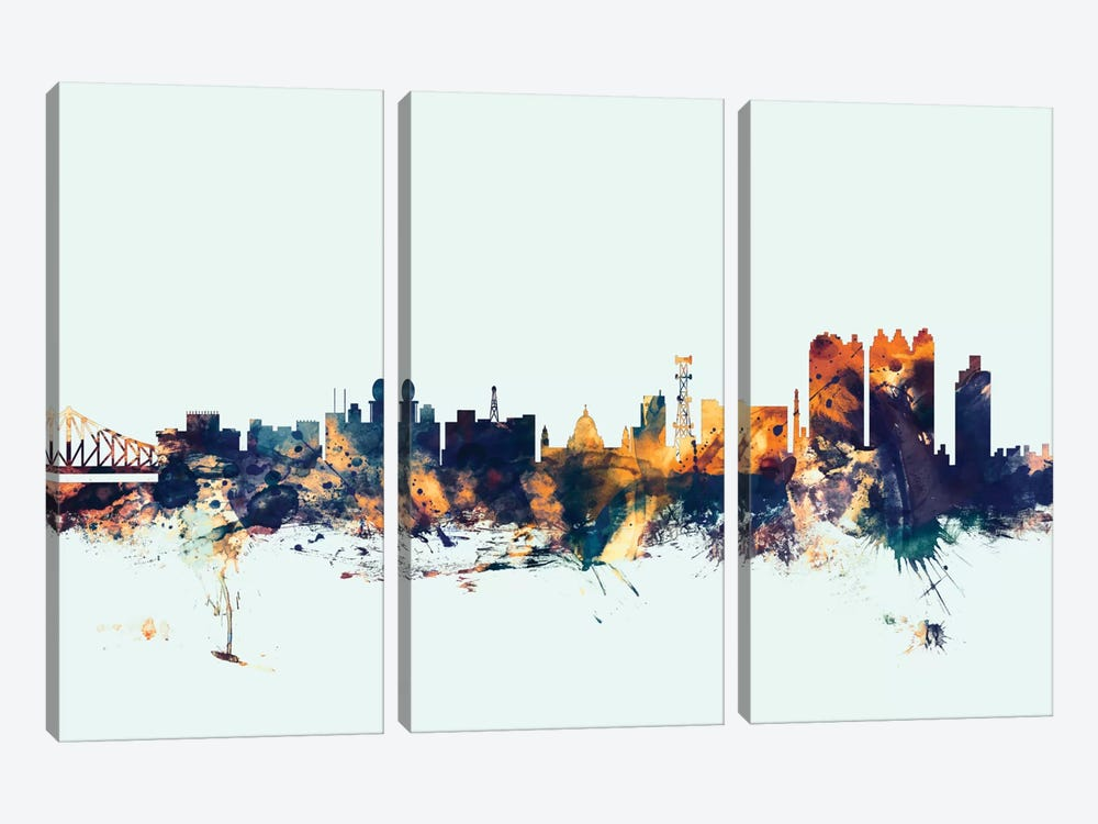 Kolkata (Calcutta), India On Blue by Michael Tompsett 3-piece Canvas Artwork