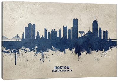 Boston Massachusetts Skyline Concrete Canvas Art Print