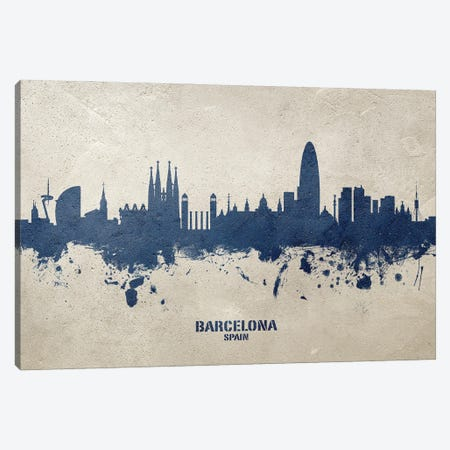 Barcelona Spain Skyline Concrete Canvas Print #MTO3023} by Michael Tompsett Canvas Print