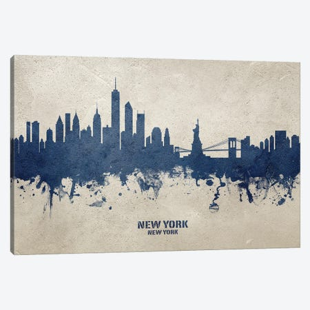 New York New York Skyline Concrete Canvas Print #MTO3025} by Michael Tompsett Canvas Art
