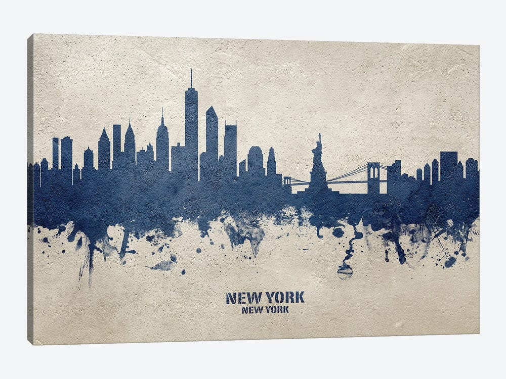 New York New York Skyline Concrete by Michael Tompsett 1-piece Canvas Artwork